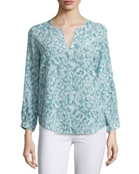 Joie Peterson B Printed Silk Blouse Fog