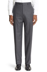 Canali Men's Flat Front Solid Wool Trousers Mid Grey