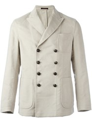 The Gigi Peaked Lapels Double Breasted Blazer Nude And Neutrals
