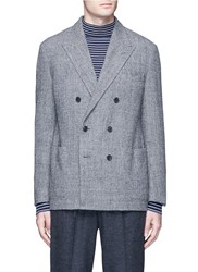 Camoshita Check Plaid Woven Wool Soft Blazer Grey