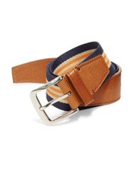 Shinola Single Keeper Multi Striped Belt Navy Khaki Orange