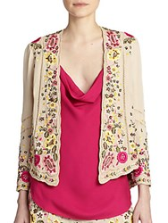 Haute Hippie Beaded And Embroidered Silk Jacket Buff Multi