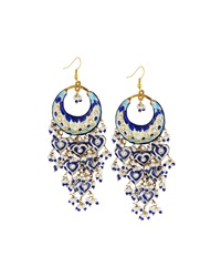 Chamak By Priya Kakkar Half Moon Chandelier Earrings Blue
