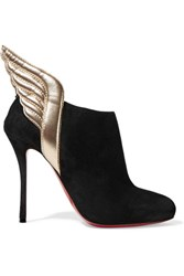 Christian Louboutin Mercura Metallic Leather Trimmed Suede Ankle Boots Black