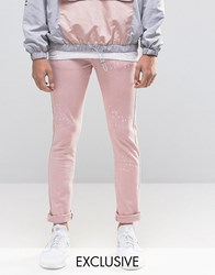 Heros Heroine Hero's Skinny Jeans With Paint Splatter Pink