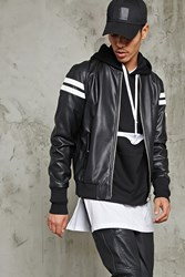 Forever 21 Faux Leather Bomber Jacket Black White