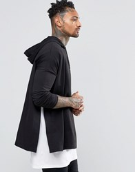 Asos Heavyweight Extreme Oversized Long Sleeve T Shirt With Hood And Side Splits Black