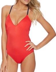 Nautica Topsail Soft Cup Lace Up One Piece Swimsuit Red
