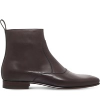 Gucci Armis Punch Hole Leather Boots Brown