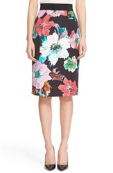 Milly Women's Floral Print Pencil Skirt Black