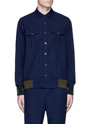 Sacai Ribbed Hem Cotton Shirt Blue