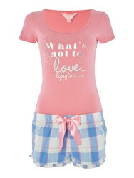 Lipsy What S Not To Love Vest And Checked Short Pj Set Pink