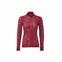 Wtr London Victoria Long Sleeve Lace Zip Up Shirt Burgundy Red