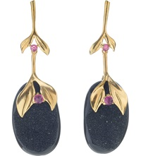 Annoushka Drusy 18Ct Yellow Gold Onyx And Ruby Drop Earrings
