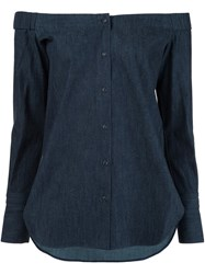 Rag And Bone Off The Shoulder Shirt Blue