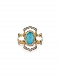 Jude Frances Malta 18K Diamond And Turquoise Doublet Ring Size 6.5