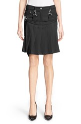 Moschino Women's Pleated Overlay Shorts With Suspenders Black