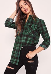 Missguided Brushed Checked Shirt Green