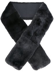 N.Peal Rabbit Fur Long Scarf Grey