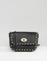 Liquorish Studded Scalloped Clutch Bag With Optional Cross Body Strap Black