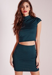 Missguided Ribbed High Neck Cap Sleeve Crop Top Teal Blue