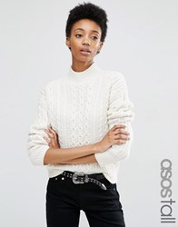 Asos Tall Jumper With Cable Stitch And High Neck Cream