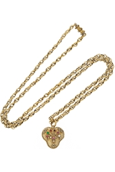 Olivia Collings 1820S 18 Karat Gold Multi Stone Heart Locket Necklace