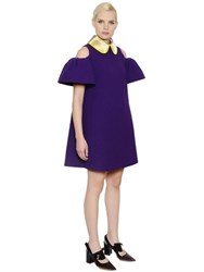 Delpozo Open Shoulders Flared Wool Crepe Dress