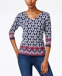 Charter Club Printed V Neck Top Only At Macy's Intrepid Blue Combo