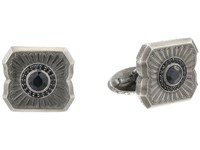 Stephen Webster Cigar Leaf Cufflinks Sterling Silver Black Sapphire Cuff Links