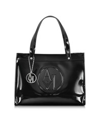 Armani Jeans Faux Patent Leather Tote Black