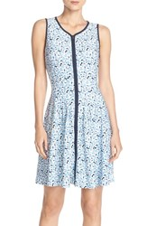 Women's Betsey Johnson Front Zip Scuba Fit And Flare Dress