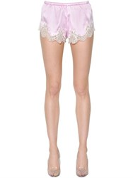 Dolce And Gabbana Stretch Silk Satin Lace Shorts