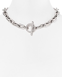 Michael Kors Chain Link Pave Toggle Necklace 18 Silver Clear