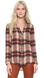Haute Hippie Long Sleeve Pocket Blouse Tribal Chevron Plaid
