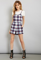 Forever 21 Evil Twin Plaid Cami Romper Set Cream Navy