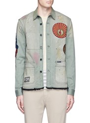 Scotch And Soda Patch Paint Spot Shirt Jacket Green