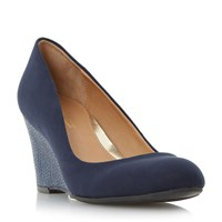Head Over Heels Angie Snake Wedge Court Shoes Navy