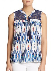 Romeo And Juliet Couture Ikat Print Keyhole Top Blue Multi