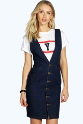 Boohoo Button Front Denim Dress Dark Blue