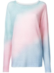 The Elder Statesman Rainbow Gradient Knitted Jumper Green