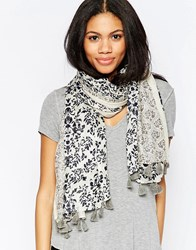 Yumi Lightweight Floral Paisley Print Scarf Navy