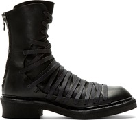 Julius Black Overlaced Combat Boots