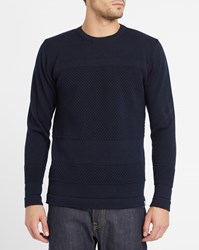 Norse Projects Navy Skagen Bubble Knit Wool Sweater Blue