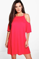 Boohoo Strappy Textured Cold Shoulder Swing Dress Red