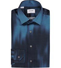 Duchamp Abstract Print Silk Shirt Blue