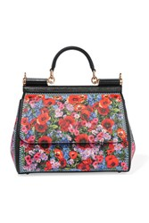 Dolce And Gabbana Sicily Medium Floral Print Textured Leather Tote Black