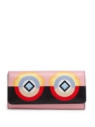 Fendi Crayons Studded Leather Continental Wallet Bubblegum