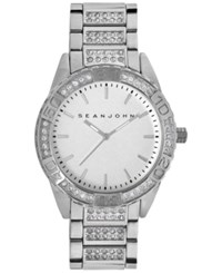 Sean John Men's Crystal Accent Silver Tone Bracelet Watch 48Mm 10018091