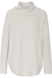 Vince Ribbed Knit Wool And Cashmere Blend Turtleneck Sweater Light Gray